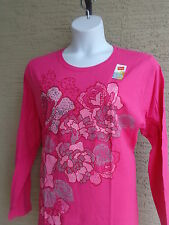 NWT Hanes  Graphic Cotton  L/S Crew Neck Tee Shirt  2X Fuchsia with Flowers