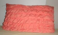 Peach Orange Rows of Ruffles Pillow Toss Throw Rectangular Cushion Decorative