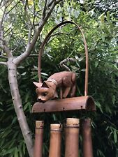 More details for cat bamboo and coconut garden wind chimes. handmade and fair trade garden mobile