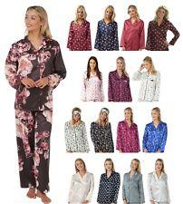 Ladies Floral Patterned Satin Pajama PJs Pyjamas Set Long Sleeve Full Length
