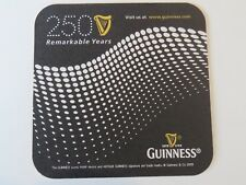 Beer Coaster ~ GUINNESS Brewery Stout ~ 250 Remarkable Years ~ Dublin, IRELAND