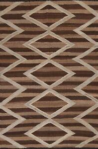 Natural Dye Geometric Kilim Afghan Oriental Area Rug Hand-Woven Wool Carpet 5x7