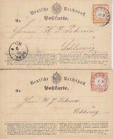 Brustschild Mi Nr. 3, 14 beide EF 2 Karten mit K1 Rendsburg - Schleswig 1872