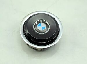 Nardi Steering Wheel Horn Button - Classic - Black with Chrome Trim and BMW Logo