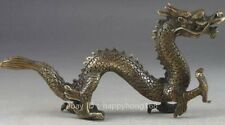 chinese old fengshui copper hand-carved propitious Dragon Statue b02