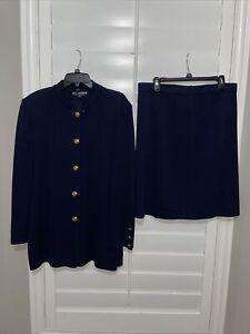 ST John Basics 2PC Santana Knit Skirt Suit Button Jacket & Skirt Blue Sz 14 & 16