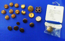 Lot: 21 Vintage Metallic Gold BUTTONS In Relief: Flowers Apples Crowns Napoleon