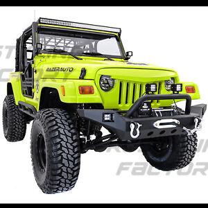 Rock Crawler Super HD Front Bumper+Winch Plate+2x LED for 97-06 Jeep Wrangler TJ