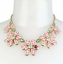 Betsey Johnson Summer Picnic Gingham Flower Necklace Pink $85