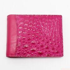 Genuine Crocodile Leather Skin Men's Money Clip Bifold Wallet - Pink