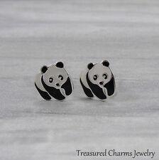 Panda Bear Post Earrings - 925 Sterling Silver - Panda Earring Studs NEW