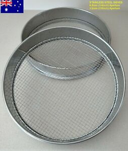 """Sieve Gold Gem Soil Kitchen Fossick Pan 3.2mm(1/8"""")-6.5mm(1/4"""")Stainless Quality"""