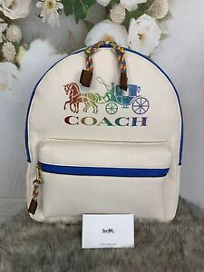 Coach Medium Charlie Backpack Rainbow Horse And Carriage PRIDE  NWTS MSRP $398