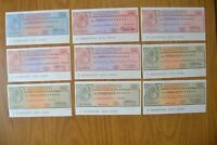 LOTTO 9 BANCONOTE miniassegni banca SAN PAOLO TORIONO LIRE 50 100 200 ANNI '70