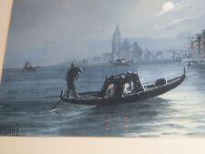 "Beauty!Pair of W/C by GIANNI ITALIAN Venice, Gondola,night,sea,circa 1919 24X15"""
