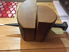 Peter V. Gelder Solid Wood Book Ends w/Railroad Spike