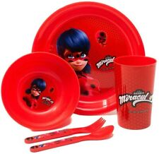 Miraculous Ladybug 5 Piece Breakfast Set Cutlery bowl plate Cup