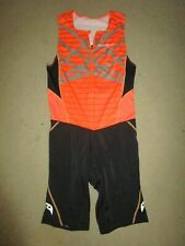 SAUCONY MEN'S TRIATHLON SHIRT SUIT ORANGE BLACK LARGE USED SWIMMING CYCLING