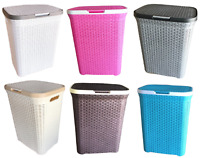 Plastic Laundry Basket 65L Rattan Hamper Washing Clothes Linen Storage Tidy Bin