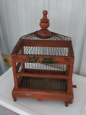 Primitive Wooden Bird Cage w/ Steel Spring Door and Metal Clean Out Tray