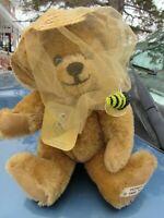 "VINTAGE TEDDY BEAR 10"" BEE KEEPER HONEYCOMB ADORABLE MOHAIR ARTIST SUE FOSKEY"