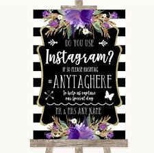 Wedding Sign Black & White Stripes Purple Instagram Social Media Photo Sharing