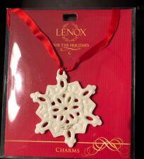 Lenox 2.6-Inch Porcelain Pierced Snowflake Christmas Charm Ornament Ivory Euc
