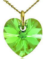 August Birthstone Necklace Peridot 9ct Gold Heart with Crystal from Swarovski®