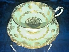Paragon Tea Cup and Saucer Mint and Gold