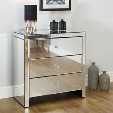 Seville Mirrored Bedroom Chest of Drawers with 3 Large Storage Drawers