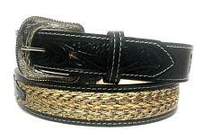 3D Western Boys Belt Kids Leather Basketweave Embossed Brown DB3072