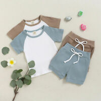 Baby Summer Clothes Outfit Two Pieces Short Sleeves Tops Shorts Set Toddler Kids