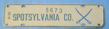 1964 Spottsylvania county license plate from Virginia crossed sabers Civil War