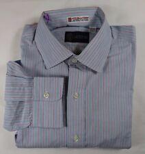 Nordstrom Blue Red Stripe Mens Cotton Dress Shirt Kenneth Gordon 15 - 33