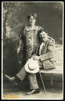 Abbazia, Miramare, elegant couple w walking stick, by Mayer, Vintage Photograph,