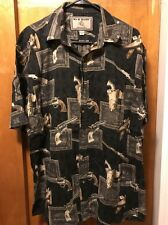 BIT N BRIDLE ~ Men's Large ~ Western Revolver Shotgun 6 Shooter Guns S/SLV Shirt
