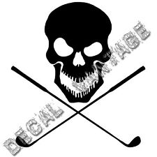 Skull with Crossed Golf Clubs Vinyl Sticker Decal Golfer - Choose Size & Color