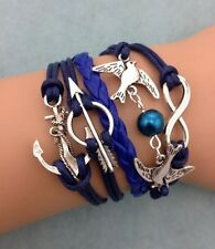 NEW Infinity Arrow Pigeon Anchor Pearl Leather Charm Bracelet plated Silver !!!!