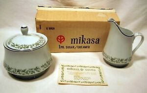 MIKASA Fine China MONTCLAIR SUGAR/CREAMER G 9059 - Green Floral Design, Japan