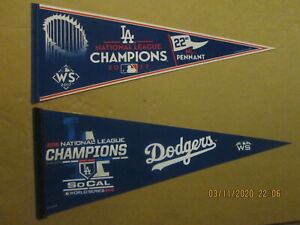 MLB Los Angeles Dodgers Vintage 2017 & 2018 NL Champions Team Logo Pennants