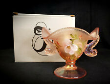 Fenton Pink Sunset Stretch Dolphin Koi Fish Compote w/HP Flowers