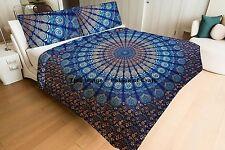 Indian Peacock Mandala Cotton Doona Set Bohemian Queen Comforter Quilted Blanket