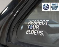 Volkswagen Respect Your Elders Euro Style window sticker decal