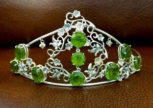 New Designer Chistick Custom Victorian style 70.8ct peridot diamond Silver Tiara