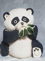Vintage Artesiania Rinconada Uruguay # 54 Retired Panda Bamboo Leaves Figurine