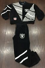 VTG🔥 Ground Oakland Raiders NFL Velour Type 2 Piece Tracksuit Sz M Men's Jogger