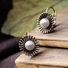Boucles d`Oreilles Dormeuse Doré Fleur Metal Perle Class Vintage Original CC 7