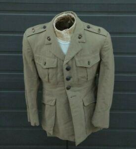 WWII US Marine Corps USMC Summer Weight Khaki Tunic Jacket & Gold 2nd Lt. Bars