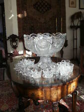 Heisey BEADED PANEL SUNBURST Punch Bowl w/Pedestal 14 cups RARE  EXCEPTIONAL