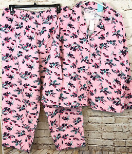Pink K flannel pajamas set womens 1X pink floral button shirt pants NEW O1